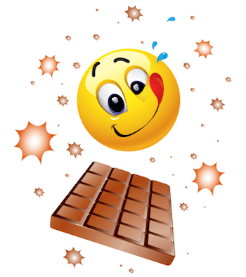 Emoticon enjoying a bar of choclate