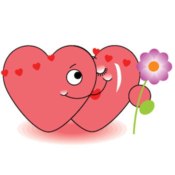 Two hearts emoticon holding flower