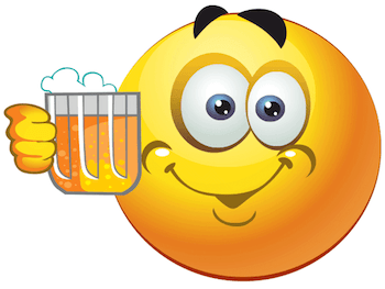 Emoticon saying cheers to beer