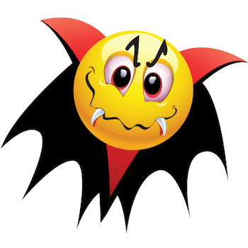 Emoticon dressed like a Dracula for a Halloween festival