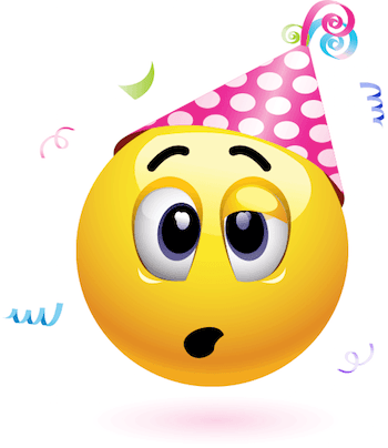 Emoticon with a pink colored party hat