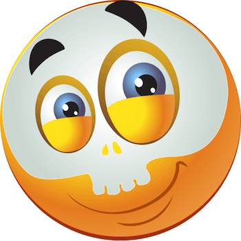 Emoticon wearing skull mask