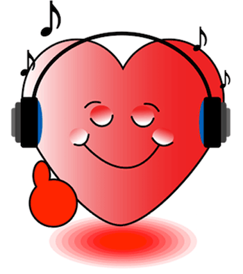 heart smiley listining music