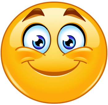 Smiling emoticon, with smiling eyes and rosy cheeks