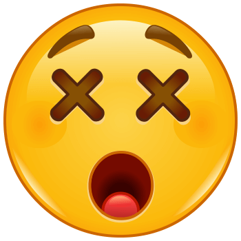 Emoticon with cross mark in its eyes