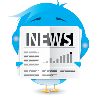 Blue bird emoticon reading news paper