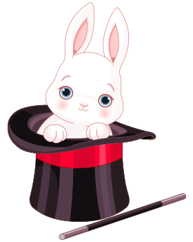Rabbit seeing out of a magician hat